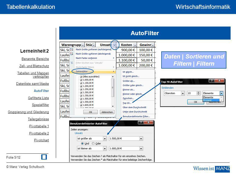 Daten | Sortieren und Filtern | Filtern