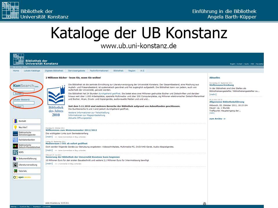 Kataloge der UB Konstanz www.ub.uni-konstanz.de