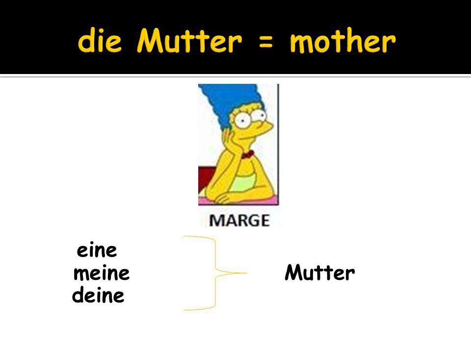 die Mutter = mother eine meine Mutter deine