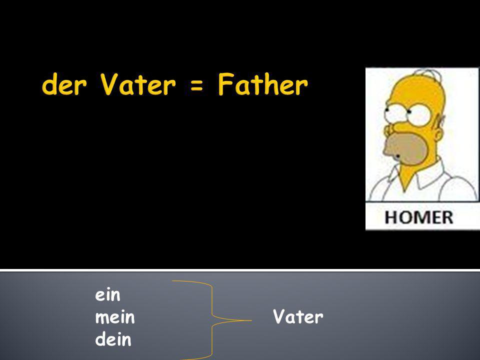 der Vater = Father ein mein Vater dein