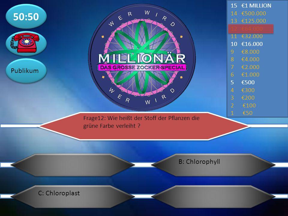 50:50 Publikum B: Chlorophyll C: Chloroplast €1 MILLION €500.000