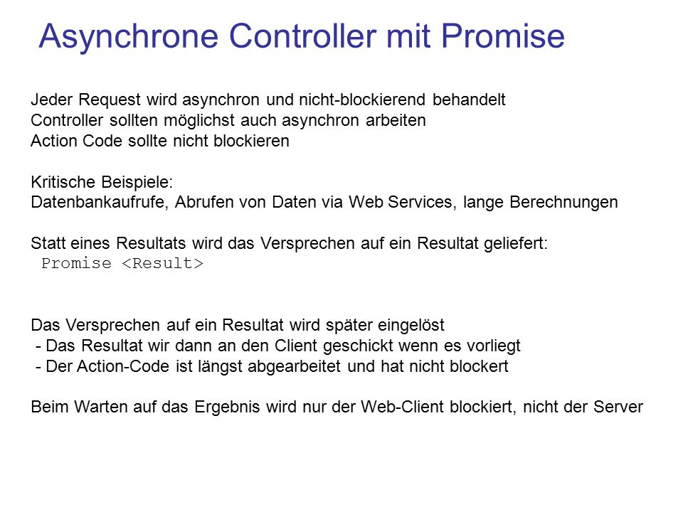 Asynchrone Controller mit Promise