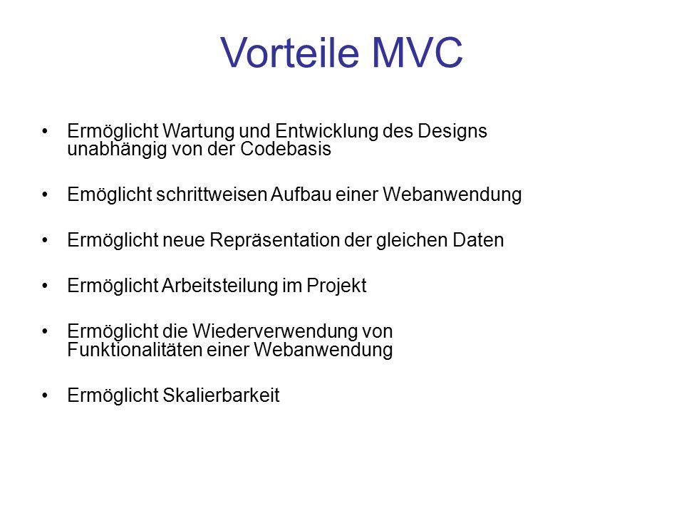 Vorteile MVC Ermöglicht Wartung und Entwicklung des Designs unabhängig von der Codebasis. Emöglicht schrittweisen Aufbau einer Webanwendung.