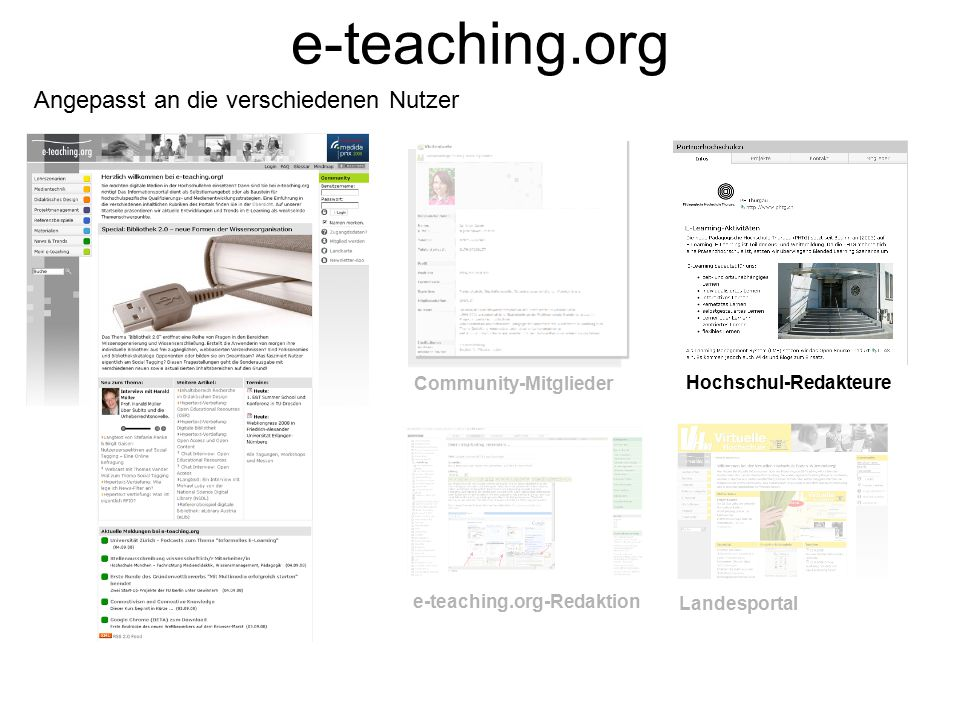 e-teaching.org Angepasst an die verschiedenen Nutzer