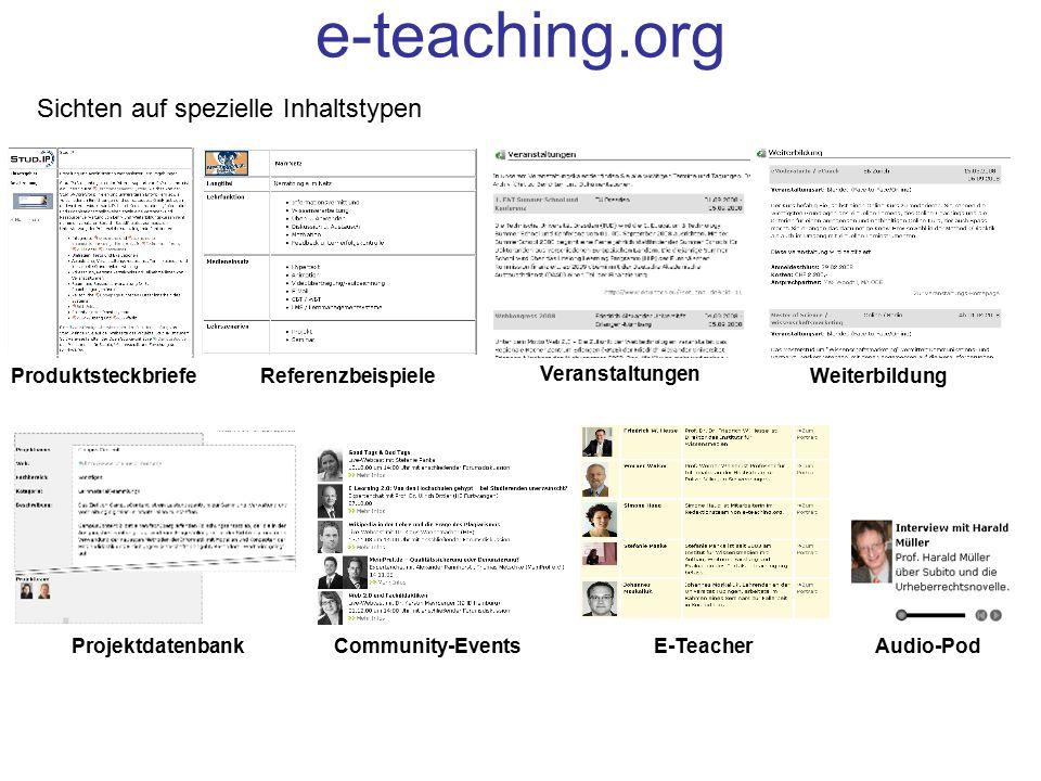 e-teaching.org Sichten auf spezielle Inhaltstypen Produktsteckbriefe