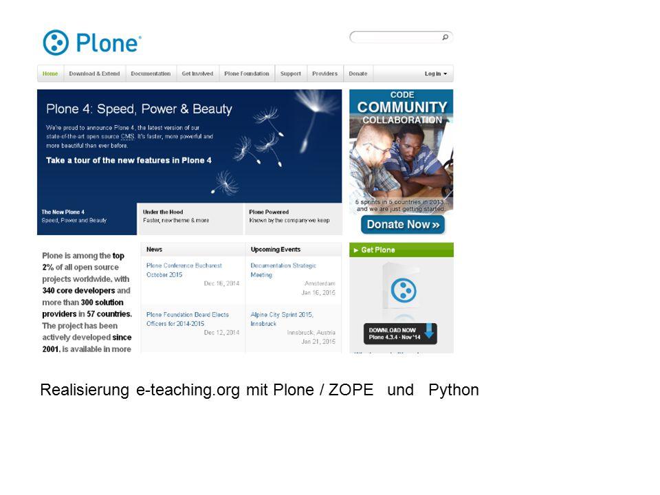 Realisierung e-teaching.org mit Plone / ZOPE und Python