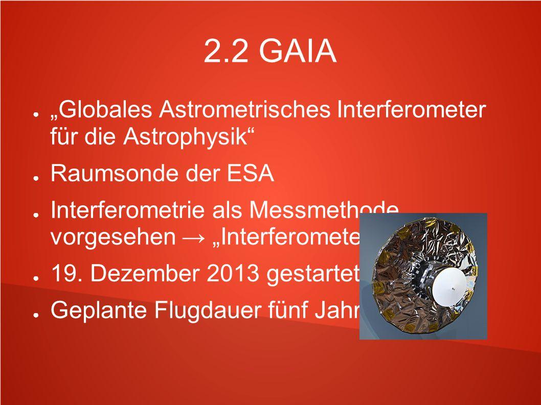 """2.2 GAIA """"Globales Astrometrisches Interferometer für die Astrophysik"""