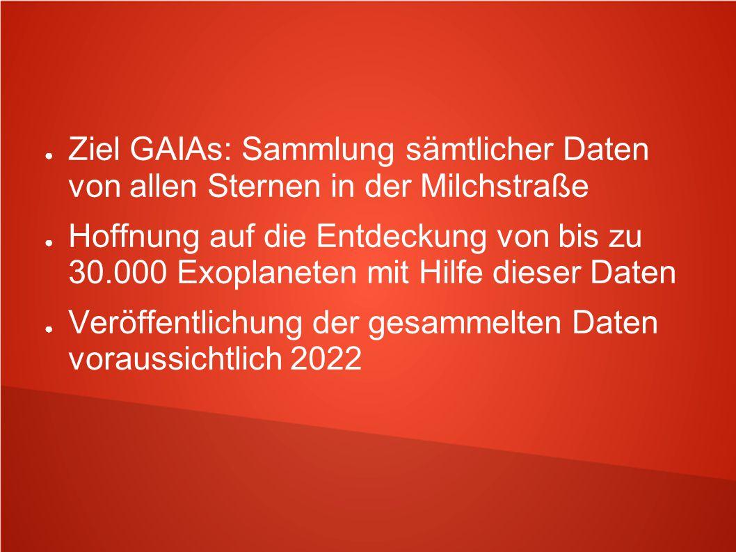Ziel GAIAs: Sammlung sämtlicher Daten von allen Sternen in der Milchstraße