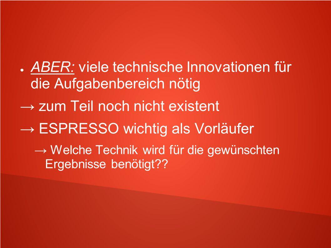 ABER: viele technische Innovationen für die Aufgabenbereich nötig