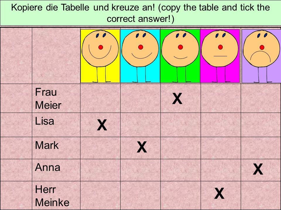 X X X X X Frau Meier Lisa Mark Anna Herr Meinke