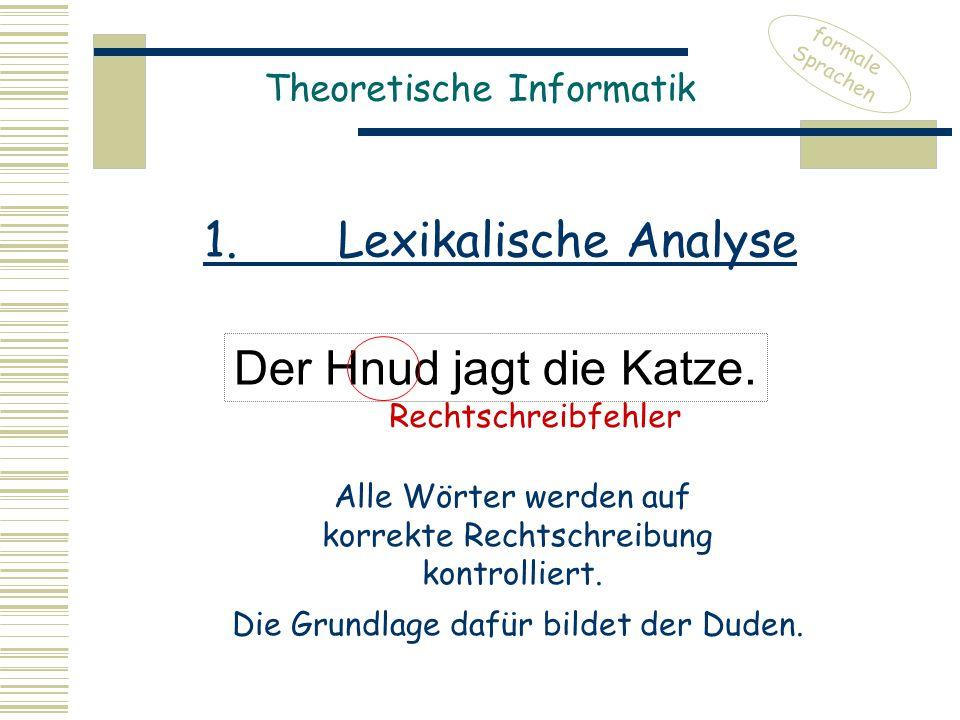 1. Lexikalische Analyse Der Hnud jagt die Katze.