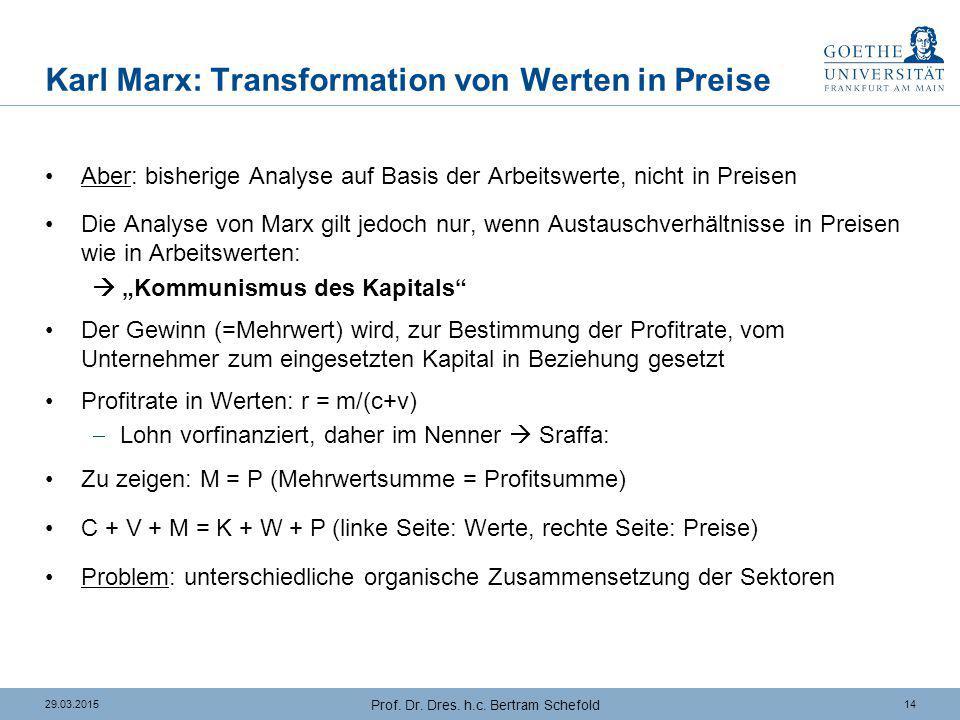 Karl Marx: Transformation von Werten in Preise (2)