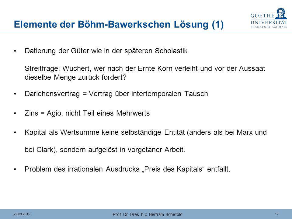 Elemente der Böhm-Bawerkschen Lösung (2)