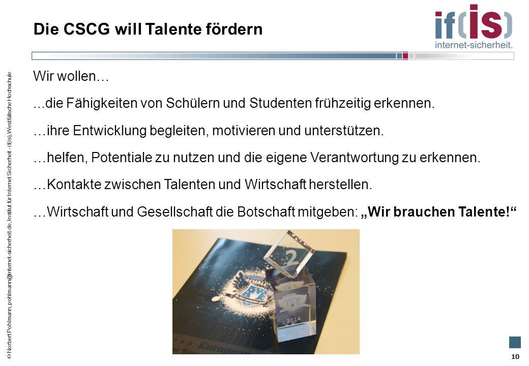 Die CSCG will Talente fördern