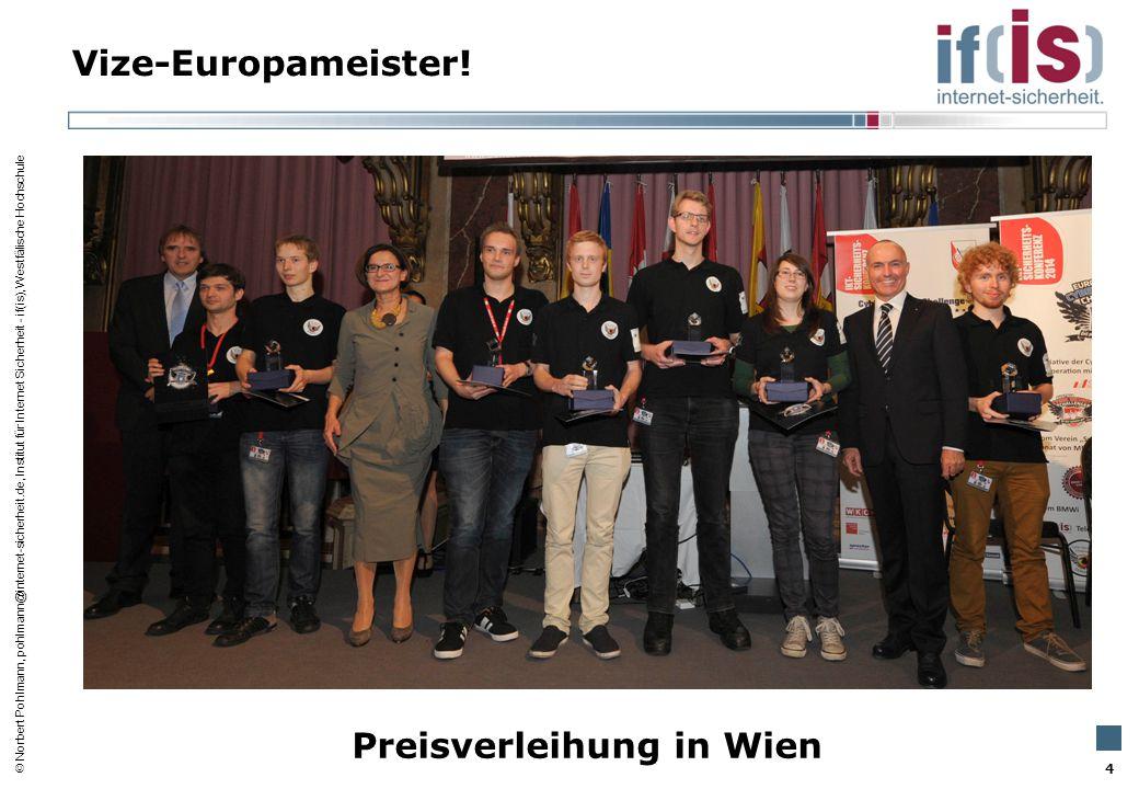 Vize-Europameister! Preisverleihung in Wien