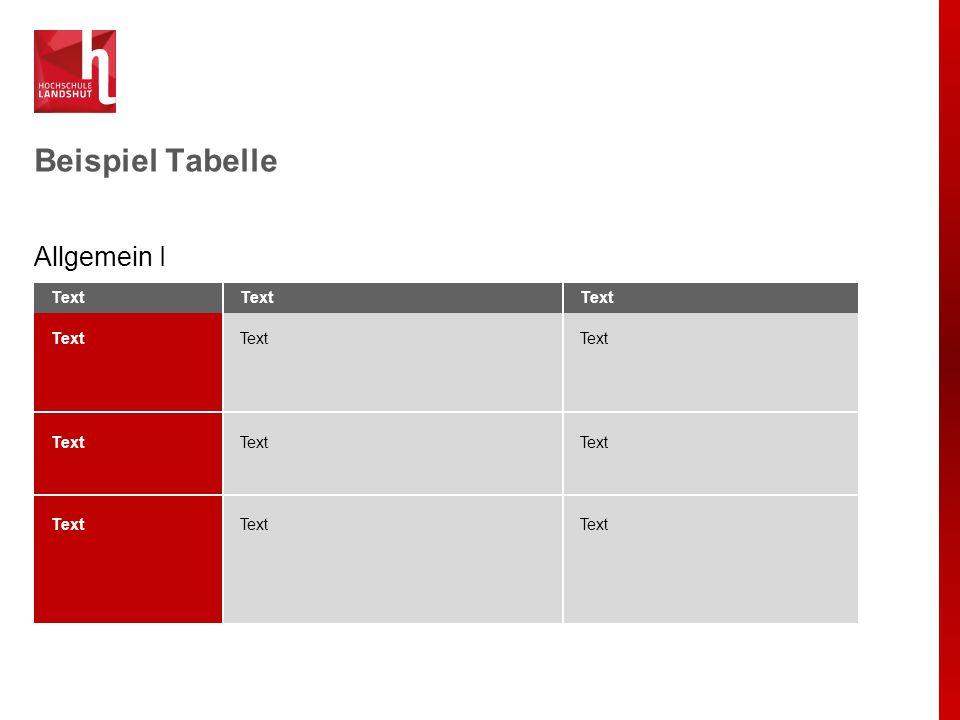 Beispiel Tabelle Allgemein I Text Text Text Text Text Text Text Text