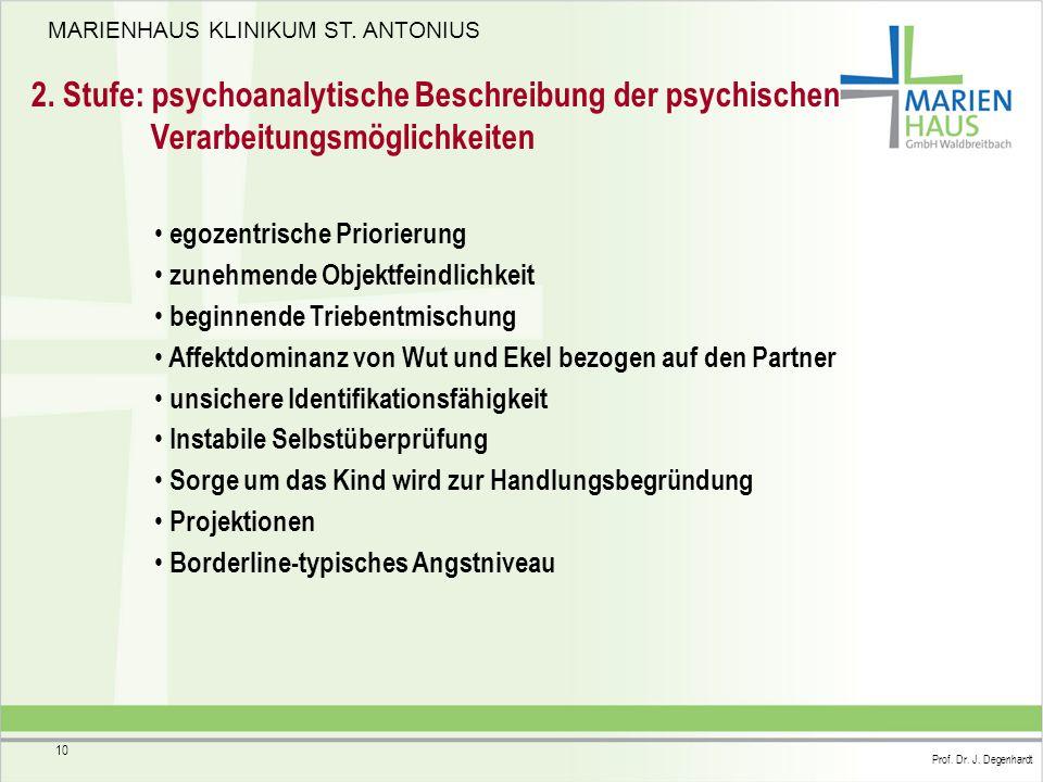 2. Stufe: psychoanalytische Beschreibung der psychischen Verarbeitungsmöglichkeiten