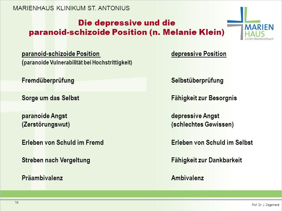 Die depressive und die paranoid-schizoide Position (n. Melanie Klein)