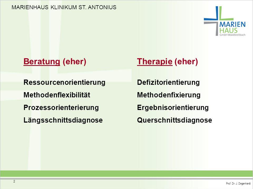 Beratung (eher) Therapie (eher) Ressourcenorientierung