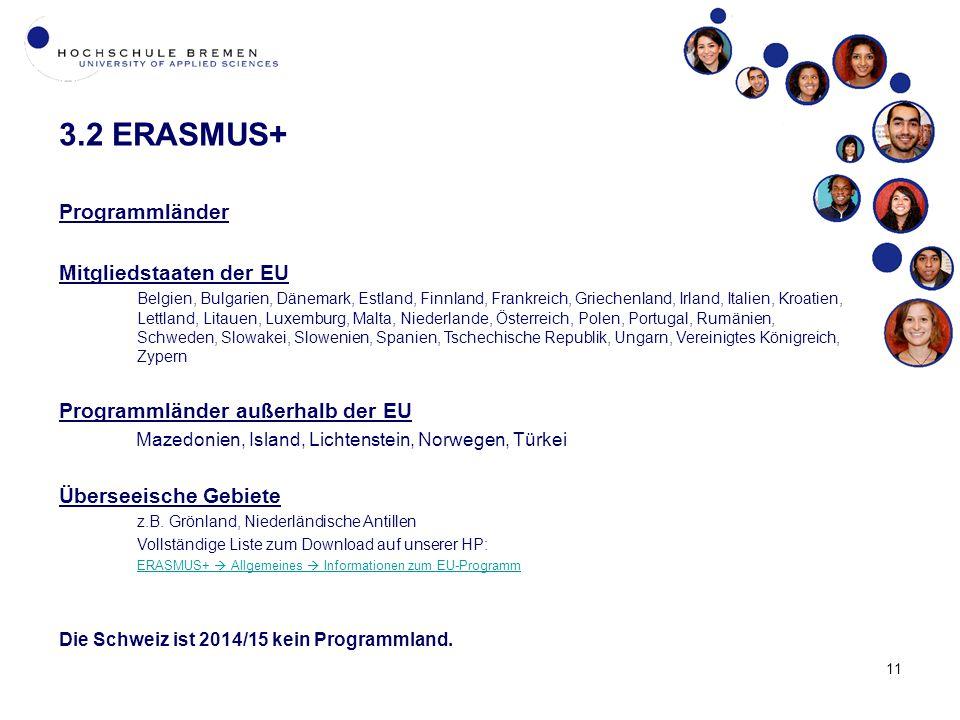 3.2 ERASMUS+ Programmländer Mitgliedstaaten der EU