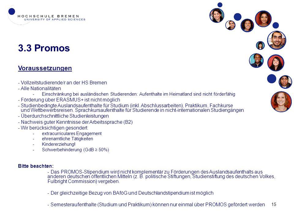 3.3 Promos Voraussetzungen Vollzeitstudierende/r an der HS Bremen