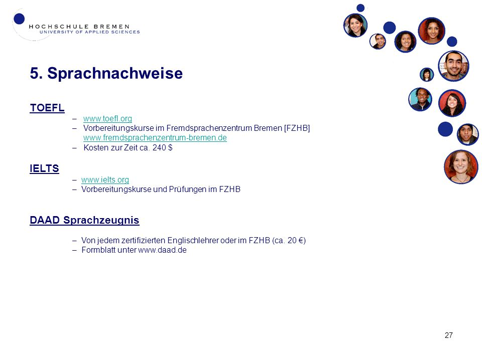 5. Sprachnachweise TOEFL IELTS DAAD Sprachzeugnis www.toefl.org