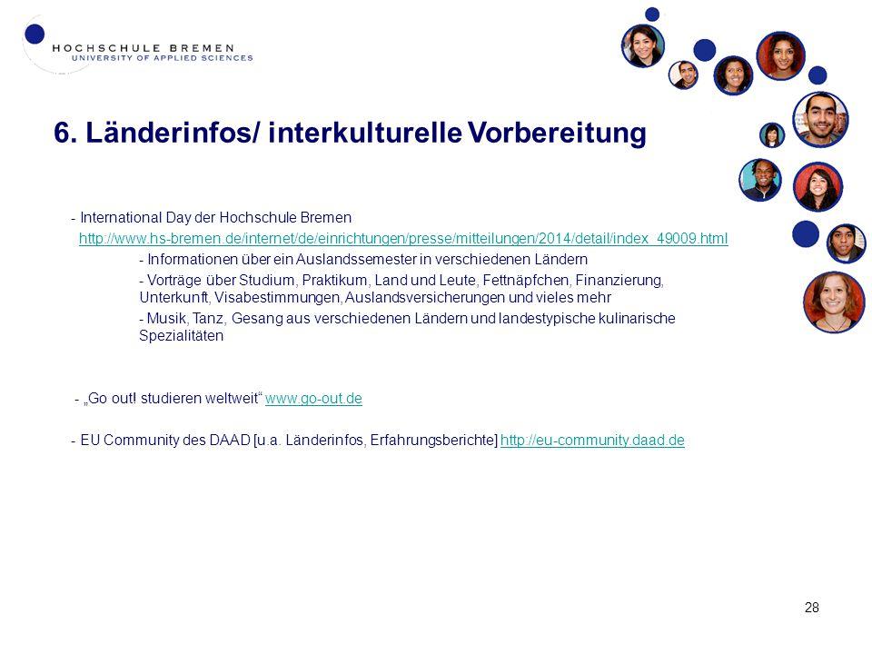6. Länderinfos/ interkulturelle Vorbereitung