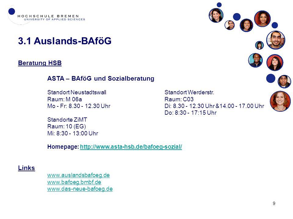 3.1 Auslands-BAföG Beratung HSB Links