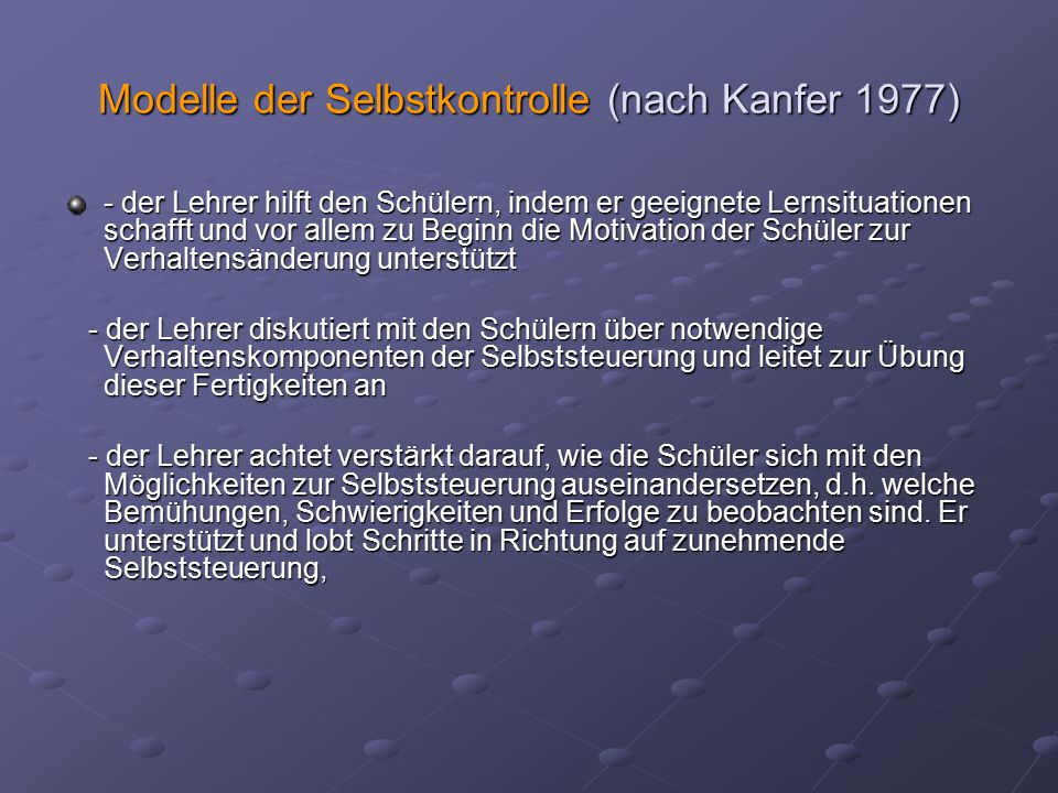 Modelle der Selbstkontrolle (nach Kanfer 1977)