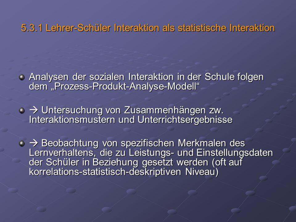 5.3.1 Lehrer-Schüler Interaktion als statistische Interaktion