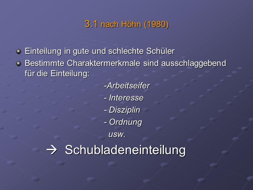 3.1 nach Höhn (1980) Einteilung in gute und schlechte Schüler