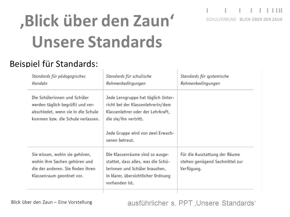 'Blick über den Zaun' Unsere Standards