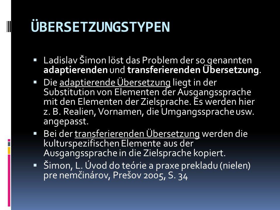 ÜBERSETZUNGSTYPEN Ladislav Šimon löst das Problem der so genannten adaptierenden und transferierenden Übersetzung.