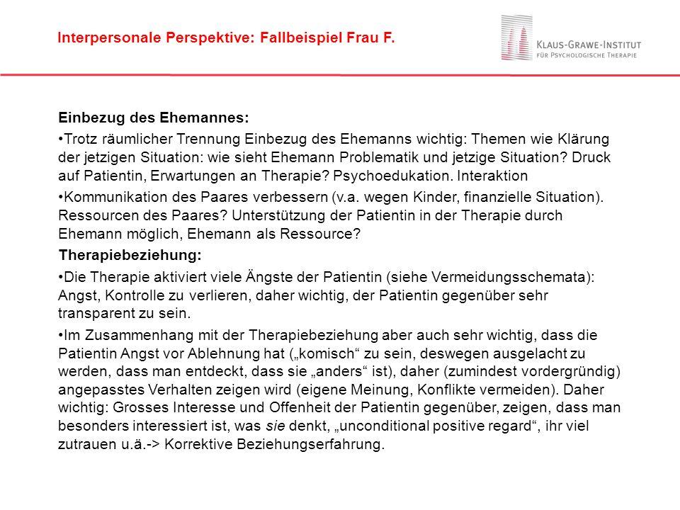 Interpersonale Perspektive: Fallbeispiel Frau F.