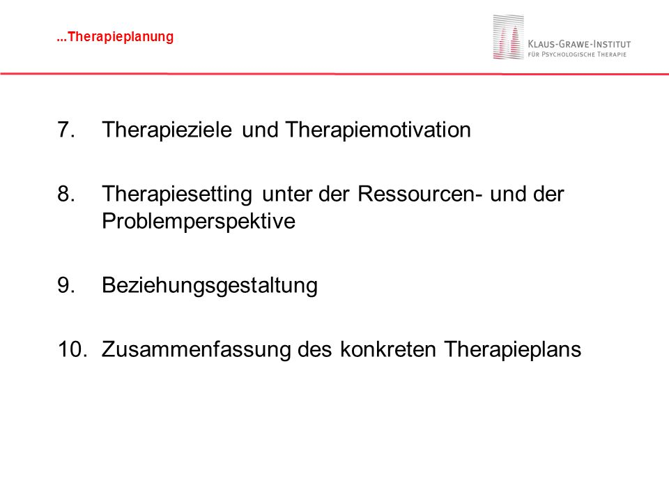 Therapieziele und Therapiemotivation