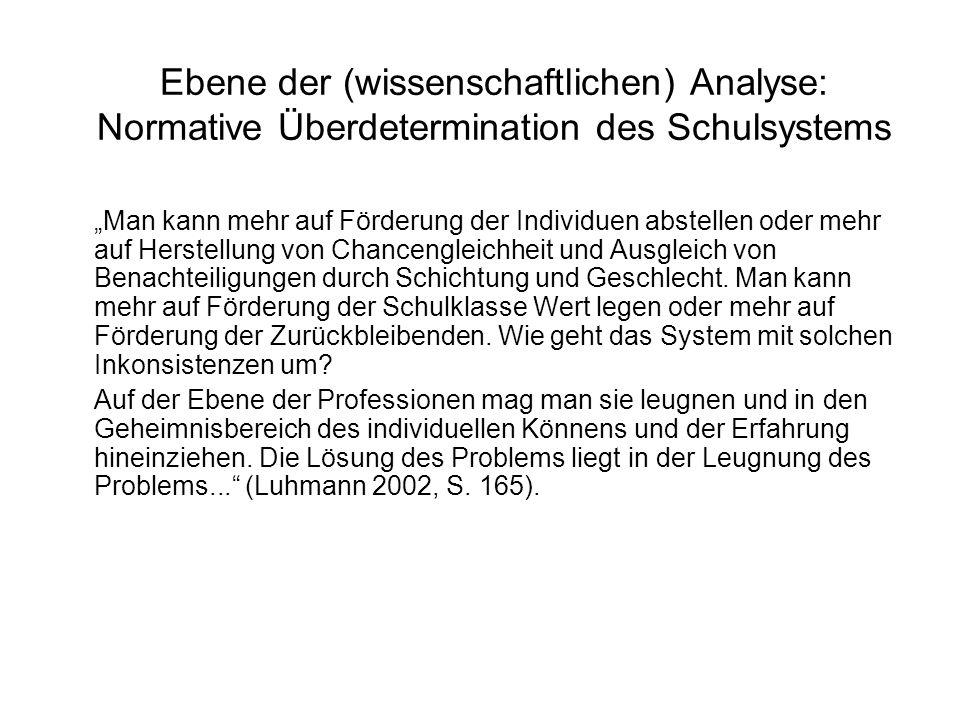 Ebene der (wissenschaftlichen) Analyse: Normative Überdetermination des Schulsystems
