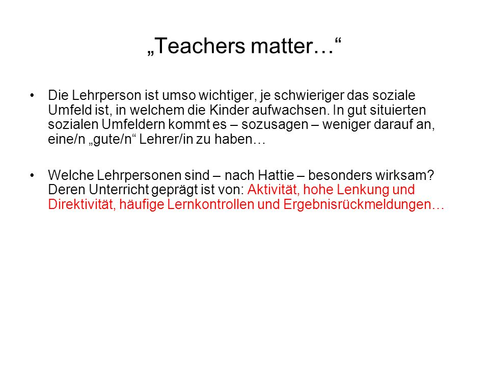 """""""Teachers matter…"""
