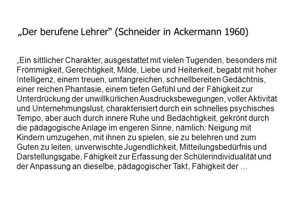 """""""Der berufene Lehrer (Schneider in Ackermann 1960)"""