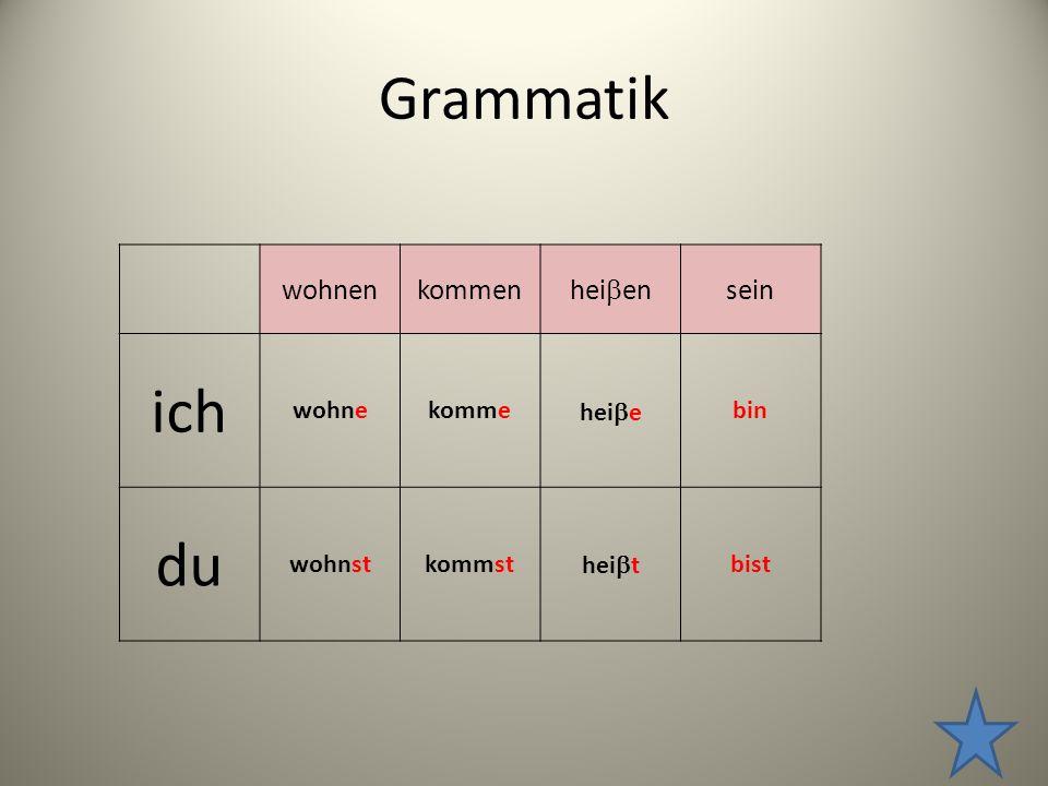 Grammatik ich du wohnen kommen heien sein wohne komme heie bin