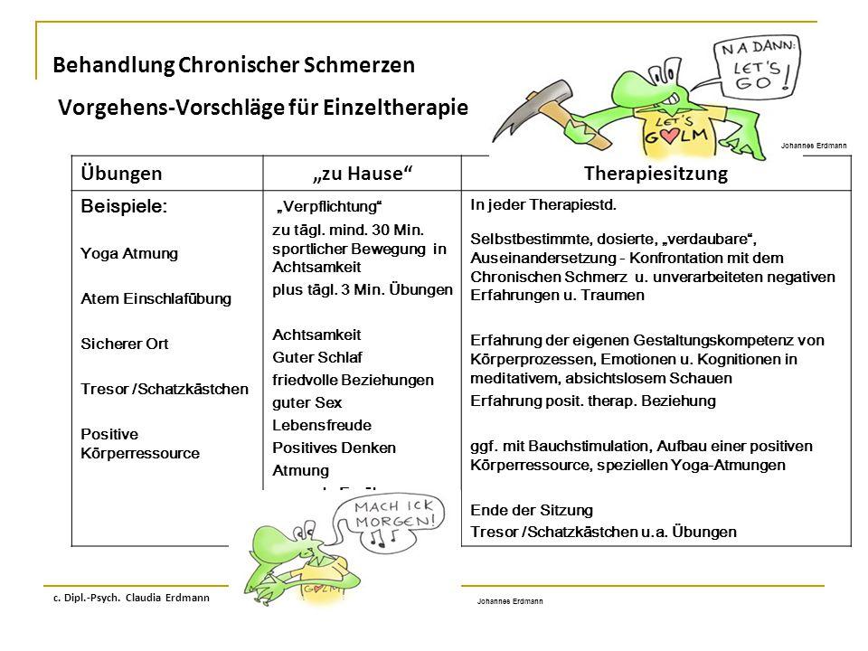 Behandlung Chronischer Schmerzen Vorgehens-Vorschläge für Einzeltherapie