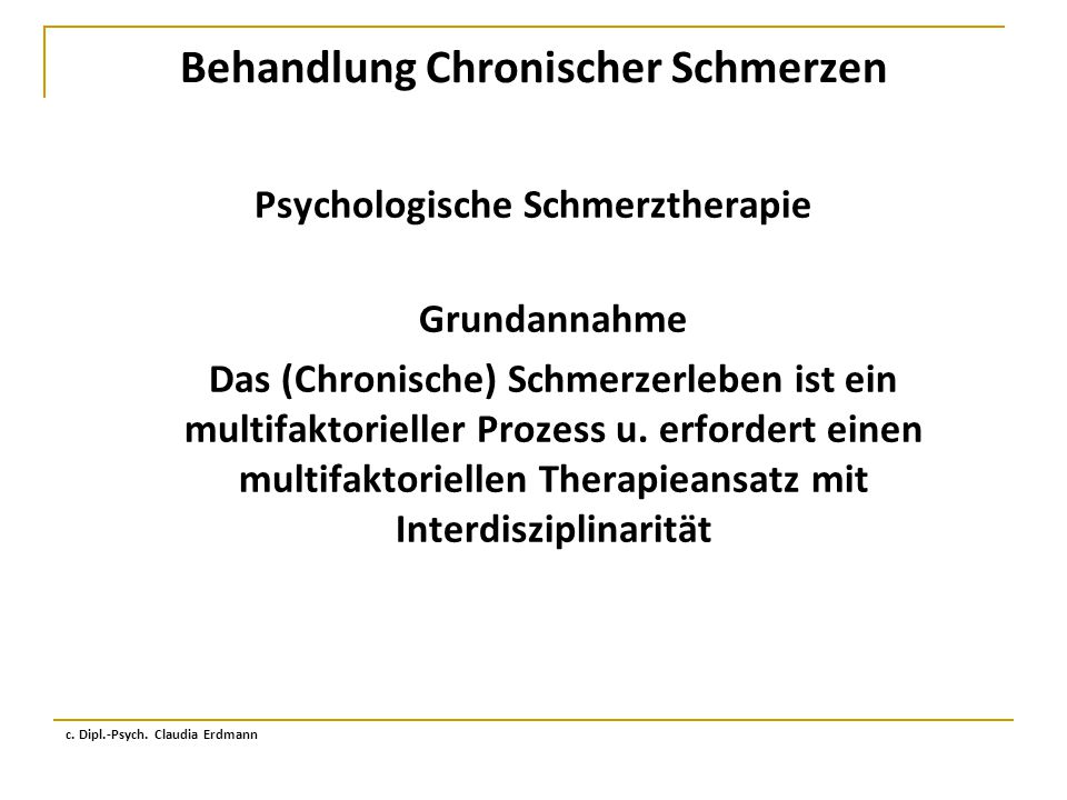 Behandlung Chronischer Schmerzen