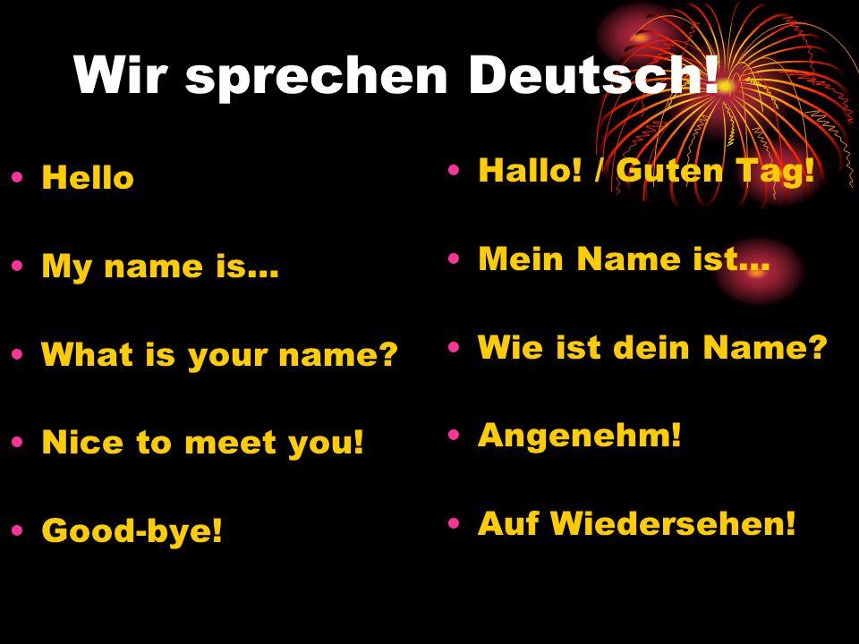 Wir sprechen Deutsch! Hallo! / Guten Tag! Hello Mein Name ist…