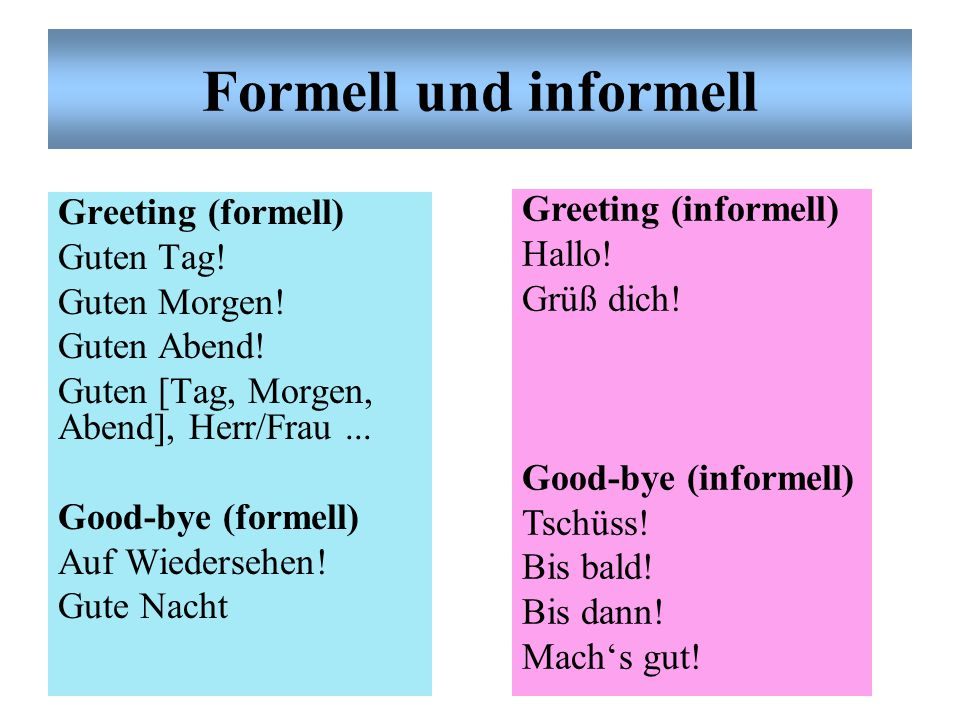 Formell und informell Greeting (informell)