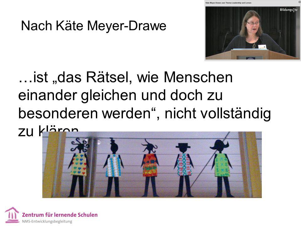 """Nach Käte Meyer-Drawe …ist """"das Rätsel, wie Menschen einander gleichen und doch zu besonderen werden , nicht vollständig zu klären."""