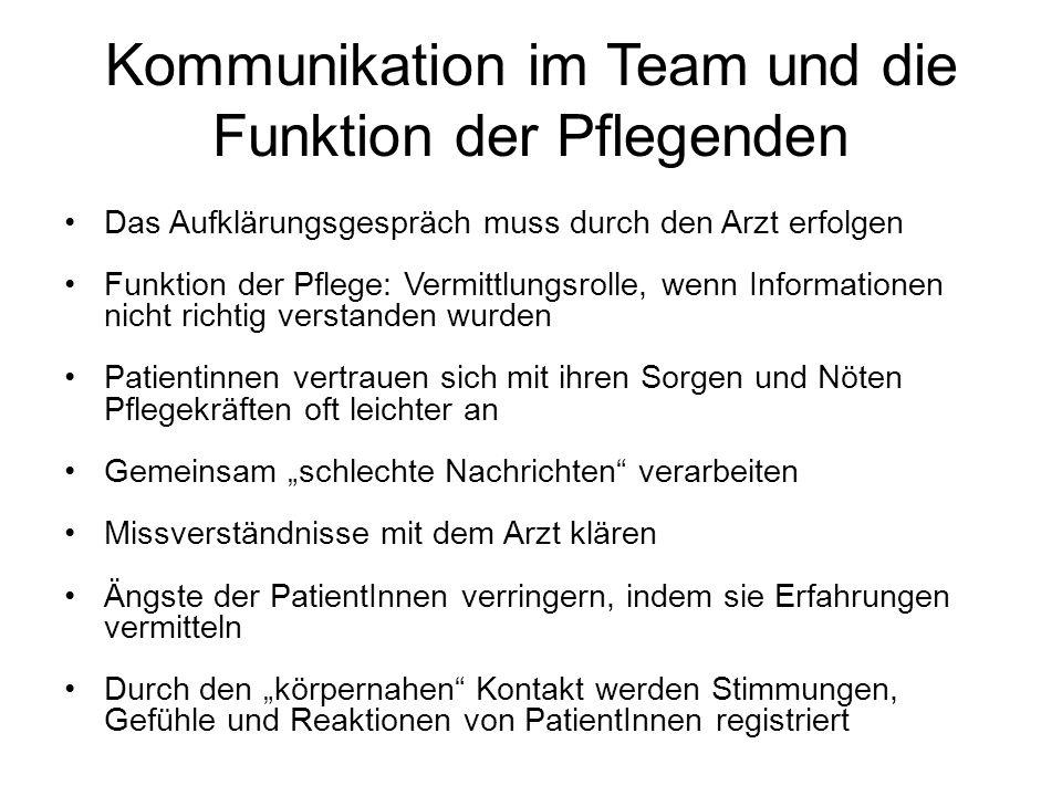 Kommunikation im Team und die Funktion der Pflegenden