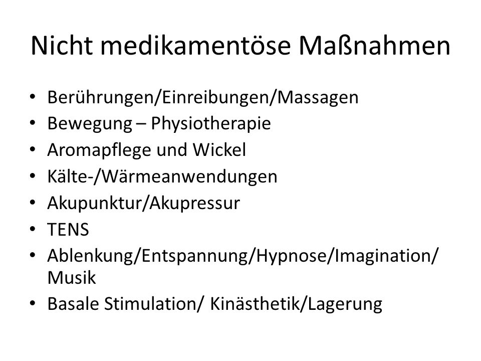 Nicht medikamentöse Maßnahmen