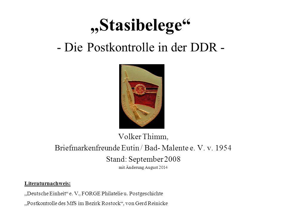 """""""Stasibelege - Die Postkontrolle in der DDR -"""