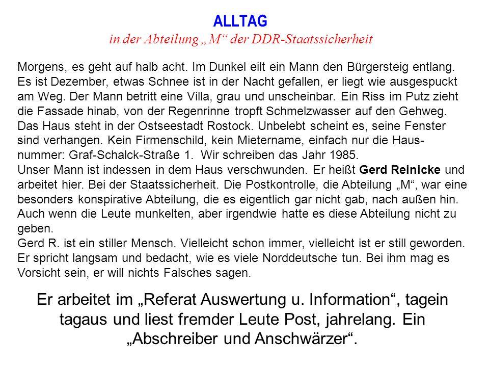 """ALLTAG in der Abteilung """"M der DDR-Staatssicherheit"""