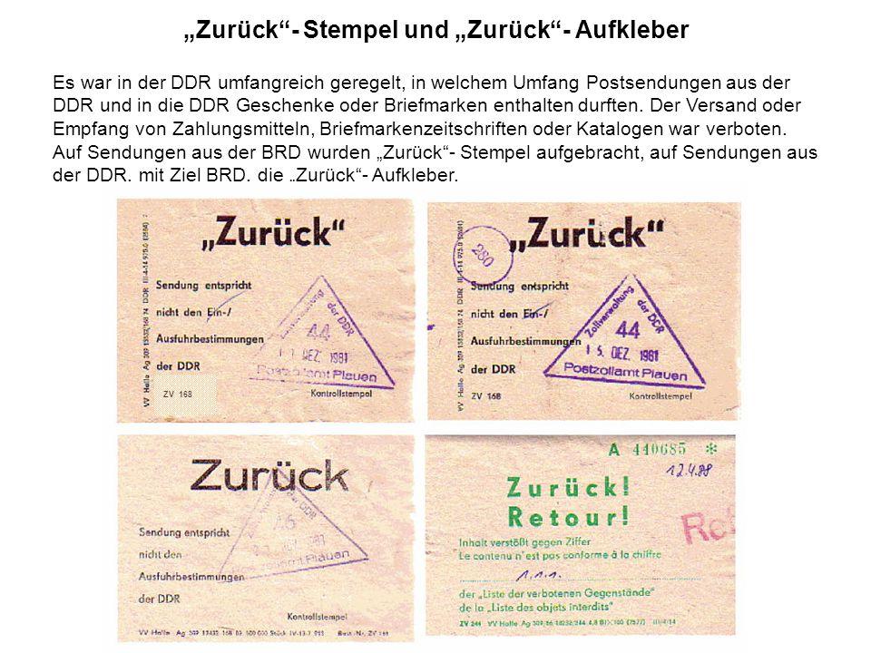 """""""Zurück - Stempel und """"Zurück - Aufkleber"""