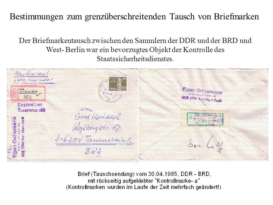 Bestimmungen zum grenzüberschreitenden Tausch von Briefmarken